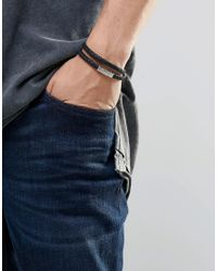 Emporio Armani - Leather Wrap Logo Bracelet In Black for Men - Lyst