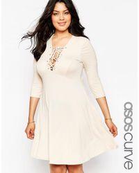 ASOS | Natural Curve Lace Up Skater Dress | Lyst