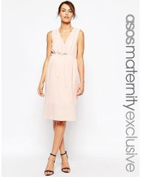 ASOS | Pink Maternity Nursing Midi Dress With Drawstring Waist | Lyst