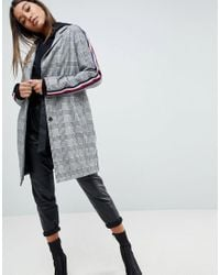 ASOS - Multicolor Slim Coat In Mono Check With Sports Trim - Lyst