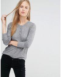 Ganni | White Button Front Henley Shirt | Lyst
