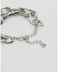 Monki - Metallic Double Chain Bracelet - Lyst