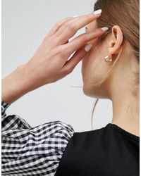 ASOS - Metallic Pack Of 3 Pearl Hoop And Stud Earrings - Lyst