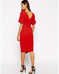 ASOS - Red Wiggle Dress With Split Front - Lyst