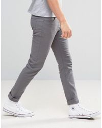 Farah - Gray Slim Fit Trousers In Mid Grey for Men - Lyst