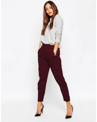 ASOS   Purple High Waisted Peg Trousers   Lyst