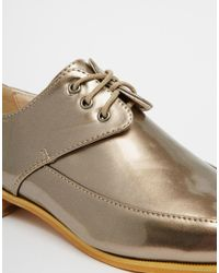 Daisy Street | Metallic Gold Slim Lace Up Flat Shoes | Lyst