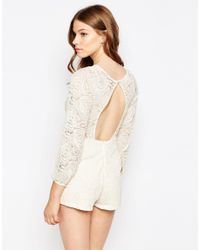 Motel - Natural Playsuit In Lace With Open Back - Cream - Lyst