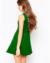 Adelyn Rae - Green Striped Sakter Dress With Ccut Out Detail - Lyst