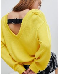 Bershka - Yellow Buckle Back Balloon Sleeve Jumper - Lyst