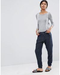 ASOS - Gray Scoop Back Body With Long Sleeves - Lyst