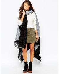 ASOS - Black Cape In Color Block Boucle With Scarf - Lyst