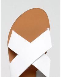 Warehouse - White Cross Front Slingback Sandal - Lyst