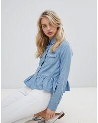 Urban Bliss - Blue Peplum Denim Shirt - Lyst