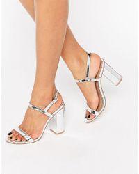 ASOS - Metallic Hello Heeled Sandals - Lyst