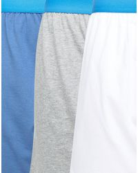 ASOS - Jersey Boxers With Blue Waistband 3 Pack Save for Men - Lyst