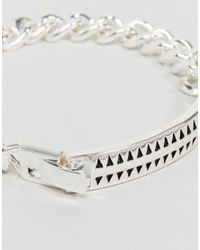 Icon Brand - Metallic Premium Hound Tooth Id Bracelet In Silver for Men - Lyst
