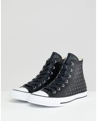 3f6417c731a2 Converse Chuck Taylor All Star Leather Studded Hi Sneakers In Black ...