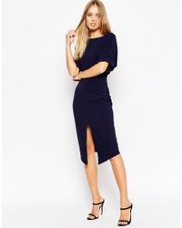 ASOS | Blue Wiggle Dress With Split Front | Lyst