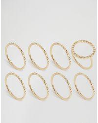Pieces - Metallic Beol Combi Multipack Rings - Lyst