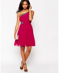 Little Mistress - Pink One Shoulder Dress With Embellished Straps - Lyst