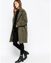 ASOS | Green Pea Coat In Oversized Fit | Lyst
