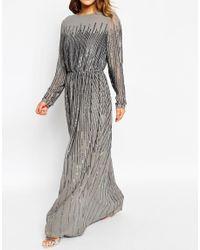 ASOS - Gray Petite Linear Sequin Long Sleeve Maxi Dress - Lyst