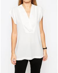 ASOS   White Tall Clean Wrap Front Deep V T-shirt   Lyst