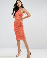 ASOS | Orange Sheer And Solid Lace Midi Pencil Dress | Lyst