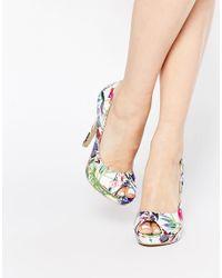 AX Paris - Blue X Paris Evie Print Peeptoe Court Shoes - Lyst