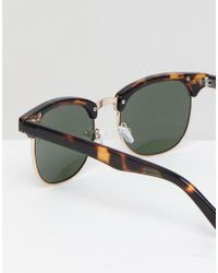 ASOS - 2 Pack Round Sunglasses In Matte Black With Mirrored Lens & Tort Save for Men - Lyst