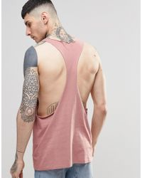 ASOS - Vest With Raw Edge Extreme Racer Back In Pink for Men - Lyst