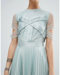 ASOS - Blue Satin Pleat And Lace Mix Mini Dress With Cut Out Sleeve - Lyst