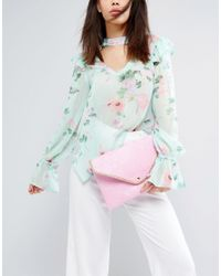 Yoki Fashion - Pink Yoki Croc Effect Clutch Bag With Detachable Strap - Lyst