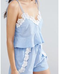 ASOS - Blue Chambray Pretty Beach Cami Top Co-ord With Crochet Trim - Lyst