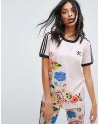 Adidas originali x fattoria floralita tee in rosa lyst