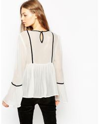 ASOS | White Blouse With Contrast Piping | Lyst