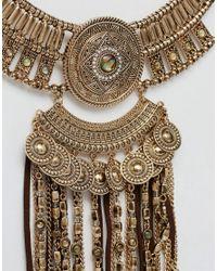 New Look - Metallic Bronzed Tassel Festival Necklace - Lyst