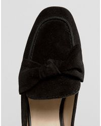 Park Lane - Black Suede Bow Mule Loafer Shoe - Lyst