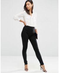 ASOS | Black High Waist Trousers In Skinny Fit | Lyst