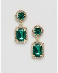 ASOS - Green Double Jewel Drop Earrings - Lyst