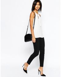 ASOS - White High Neck Cami With Keyhole And Tie Front - Lyst