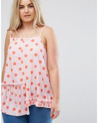 ASOS - Multicolor Cami With Assymetric Ruffle In Pretty Spot Print - Lyst