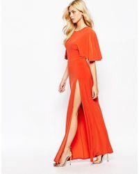 Love - Orange Kimono Maxi Dress With Open Back And Thigh Split - Lyst