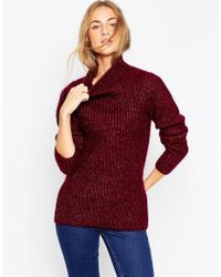 ASOS | Red Premium Rib Stitch Jumper In Mohair With Funnel Neck | Lyst