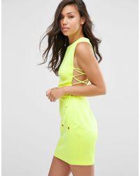 ASOS   White Lace Up Side Scuba Mini Dress   Lyst