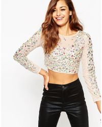 ASOS | Pink Iridescent Sparkle Long Sleeve Top | Lyst