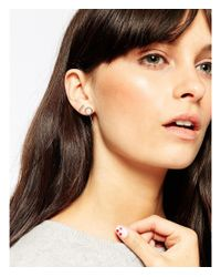 ASOS - Metallic Sterling Silver Mixed Shapes Ear Stud And Cuff Pack - Lyst