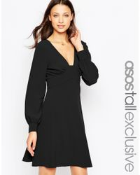 ASOS | 70's Plunge Mini Dress With Long Sleeves - Black | Lyst