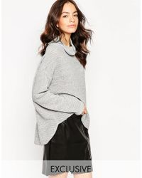 Daisy Street - Gray Textured Slouchy Cape Jumper - Lyst